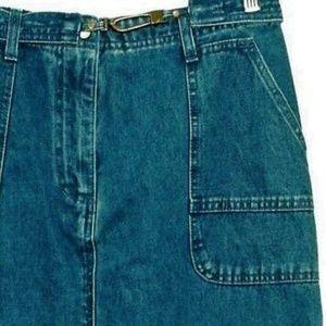 Christopher & Banks Skirts - Vintage Maxi Boho Jean Skirt Sz 8 30x35 Self belt